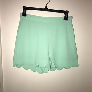 Pants - Scalloped teal high waist shorts